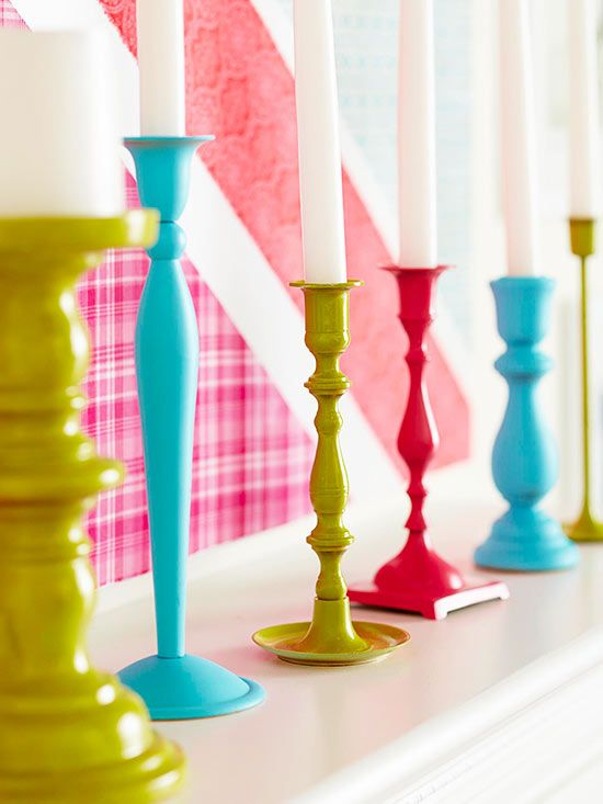 Paint your old candlesticks for a fun and easy update! More quick project ideas: http://www.bhg.com/decorating/do-it-yourself/accents/one-hour-diy-projects/?socsrc=bhgpin061014candlestickmakeover&page=8