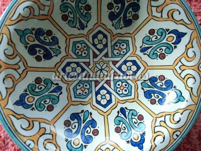 Plato de cer mica pintado a mano 30cm artesan a rabe y - Comprar decoracion arabe ...