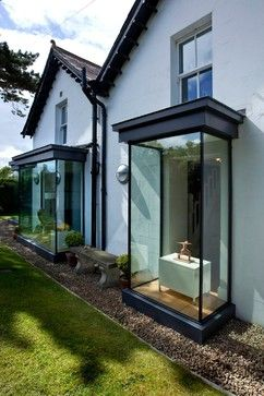 House Refurbishment, Bangor - contemporary - Exterior - Leon Smith Architects Standard older bay windows can be updated with slim frames, full-height glass, right angles and glass roof panels, all of which contribute to an overall sense of lightness.