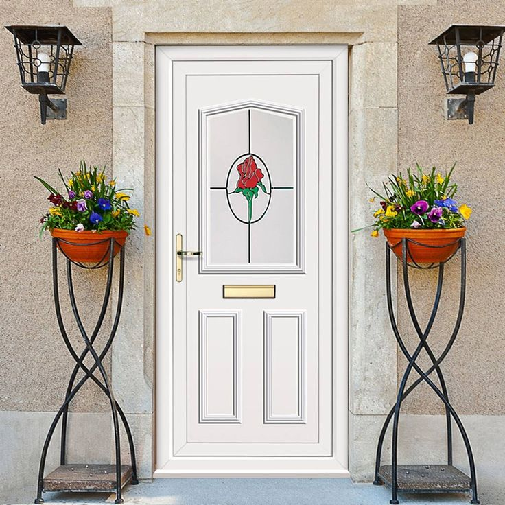 External Pvcu Melfort Country Rose Door. #whitepvcdoor #whiteexternalpvcdoor #pvcdoor