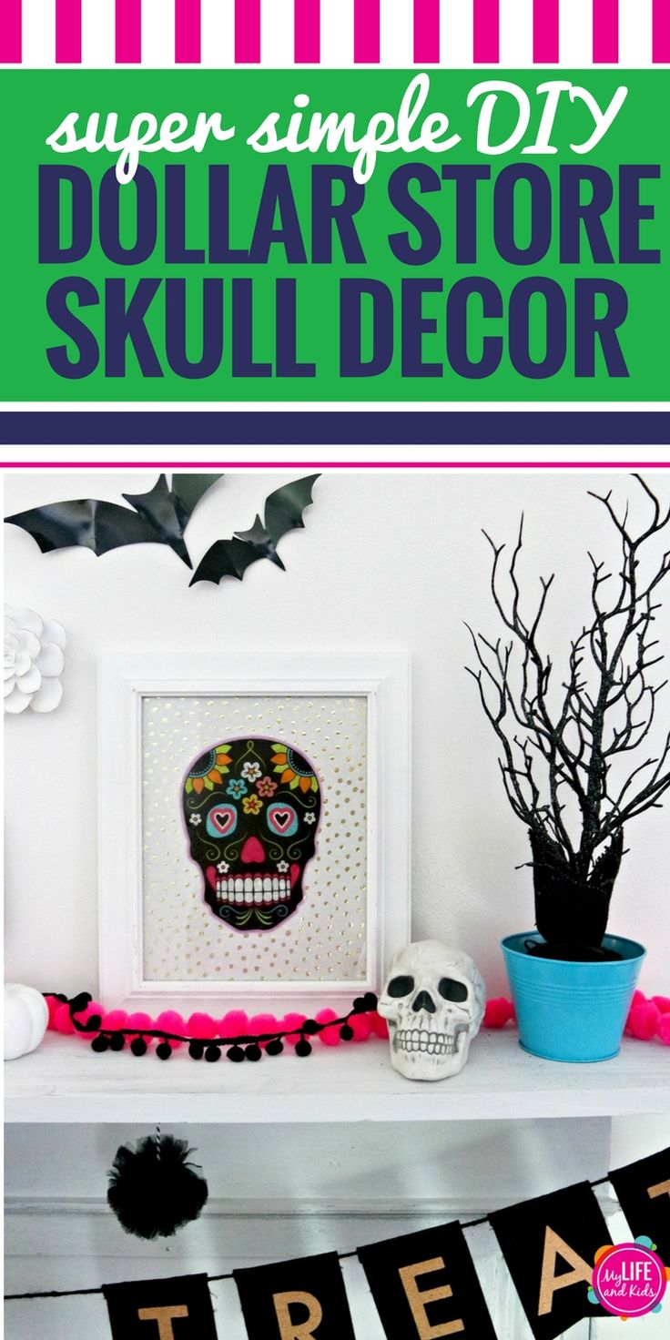 These Dollar Store DIY Halloween decor skulls are so simple to make and can have a huge impact on your spooky decorating. Whether you're going for a Day of the Dead theme, just like colorful skeletons or you're going full-on Halloween, this simple DIY craft is cheap and fast to make. Your kids can even help. #Halloween.