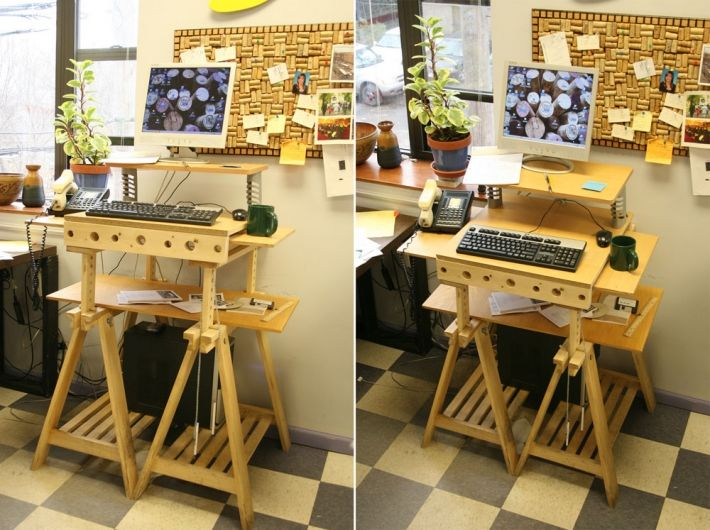 hacked wooden ikea standup desk