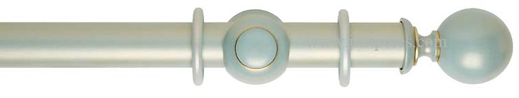 Rolls Museum 35mm, 45mm Duck Egg Blue Gold Wash Curtain Pole, Ball Finial --- Just Poles - Supplier of Curtain Poles and Tracks