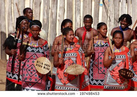 MANZINI, SWAZILAND - MAY 30 : unidentified group of young men and woman wears traditional clothing and dance, during presentation of a Swazi show on May 30, 2014 Manzini, Swaziland