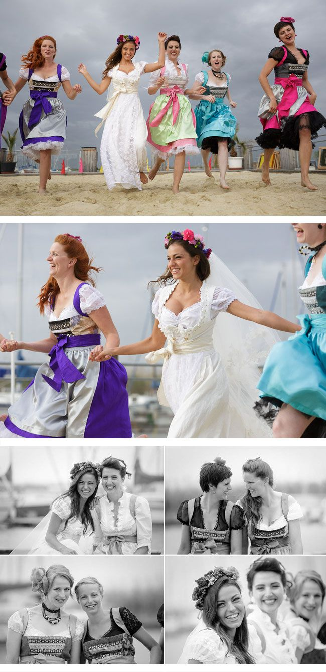 Dirndls as bridesmaid dresses! Ohh WOW! What fun colors! Valentin-s Princess Dirndl – Dirndl von Niki Lechner-Lackner