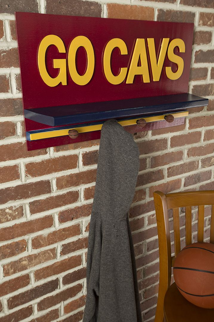 Give a Room a Wine & Gold Upgrade with This #DIY #Cavs Shelf!