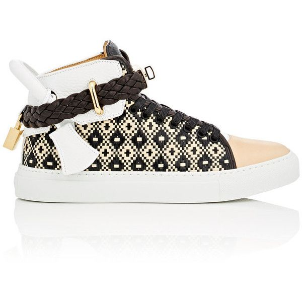 Buscemi Women's Women's 100MM Raffia & Leather Sneakers (13.303.995 IDR) ❤ liked on Polyvore featuring shoes, sneakers, lace up shoes, leather high top sneakers, polish shoes, buscemi shoes and woven leather shoes