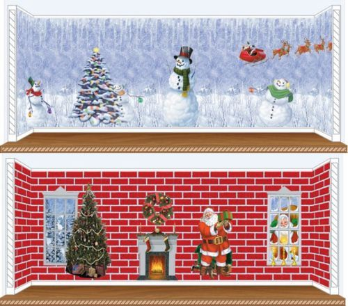 Christmas Scene Setters Trees Santa Snowmen Fireplace Party Decorations 5ft | eBay