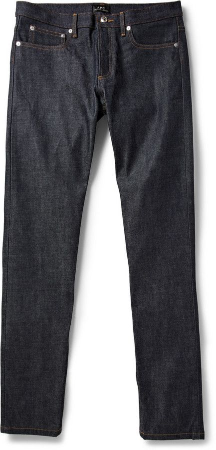 A.P.C. Petit New Standard Slim-Fit Dry Selvedge Jeans, A.P.C. uses only the best Japanese selvedge denim for its jeans, and this dry pair is designed to be worn in with use for a unique look. With minimal detailing and an easy-to-wear slim fit, they're destined to become the backbone of your casual wardrobe. Shown here with a Todd Snyder shirt , an A.P.C. sweater and AMI boots .
