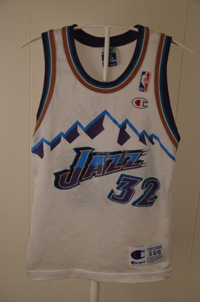 9714d07f Vintage Champion Utah Jazz replica NBA Jersey #32 Karl Malone Kids Small 6-  8 Wh #Champion #UtahJazz