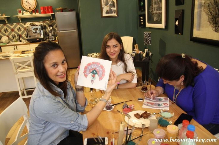 Turkish Tile Painting workshop with our students from UK and Souh Africa. Floral Tile Ceramic Painting Classes in Sultanahmet Istanbul during Ramadan 2016  http://www.bazaarturkey.com/tours/turkish_tiles_workshop.html