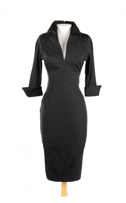 Pinup Couture- Lauren Dress in Solid Black | Pinup Girl Clothing: