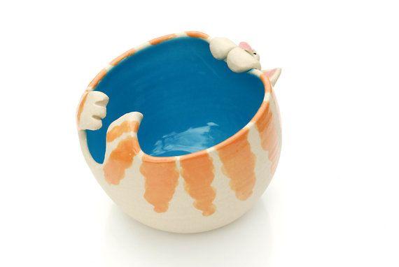 Jengibre Tabby Cat en forma de hilo tazón de por ShopBeckyZee