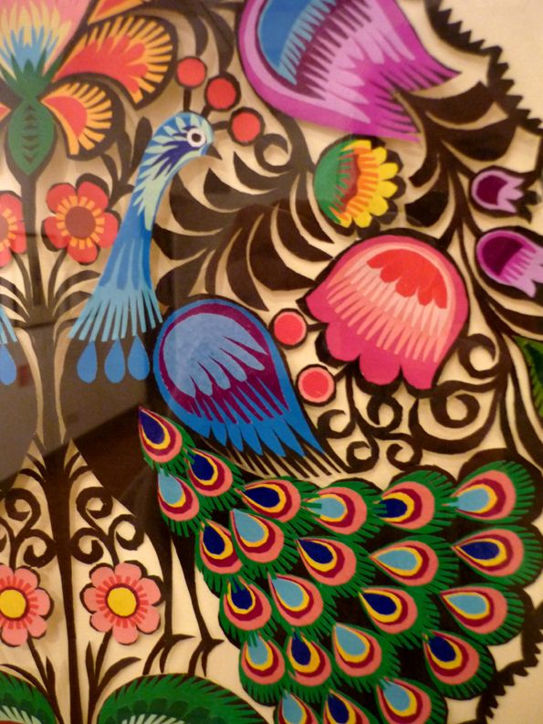 https://flic.kr/p/9h8qkA | P1030667 | Wycinanki: The Art of Polish Paper Cuts Exhibition, Cartwright Hall, Bradford.  Contemporary 'gwiazdy' peacock design. Henryka Lus, Lowicz region, Poland.