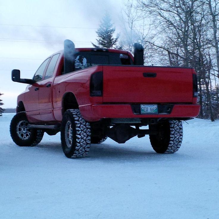 Red Dodge Cummins Diesel Truck with Stacks  Like Trucks? Go to www.DieselTruckGallery.com!  #dieseltruckgallery #cumminsdiesel #gotstacks