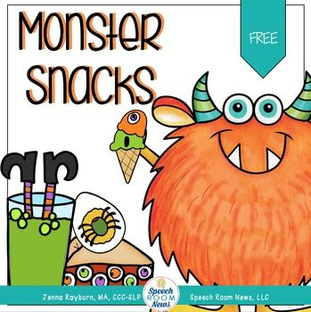Download this freebie with activities for speech therapy Halloween style! Use the sentence strips to use the correct subjective pronouns while you feed the monster. Print the monster and the girl dressed in costume. Set them on the table or a basket. Use the food cards to feed them snacks.