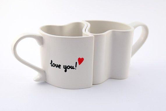 Love mugs set of two heart mugs  custom romantic by atelierChloe