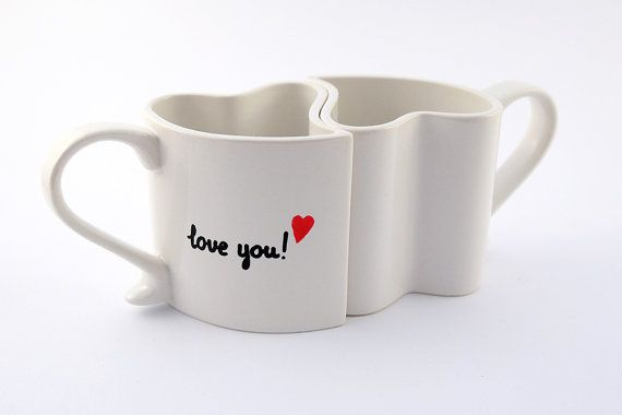Love mugs set of two heart mugs  custom romantic by atelierChloe