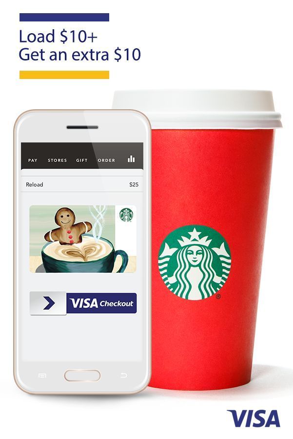 From swiping to sipping, get an extra $10 in the Starbucks app when you load $10+ using Visa Checkout -  it just clicks. Thru 12/22 while supplies last. $10 delivered as Starbucks eGift within 1 day. 1 per person. Restrictions apply. Visit starbucks.com/promo/visacheckout.