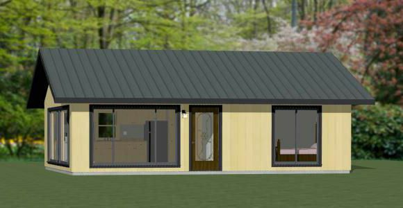 30x24 House 1 Bedroom 1 Bath 720 Sq Ft Pdf Floor Plan Model 2e Shed Homes Building Plans House Floor Plans