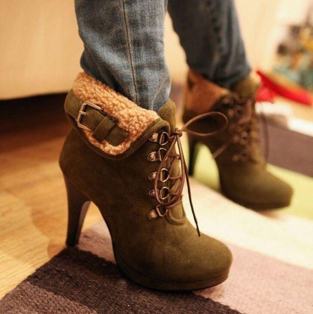 2016 New Winter Women String Fur Ankle Boots Leather Flocking High Heels Red Bottom Shoes zapatos de tac?n alto Botas Femininas Footwear