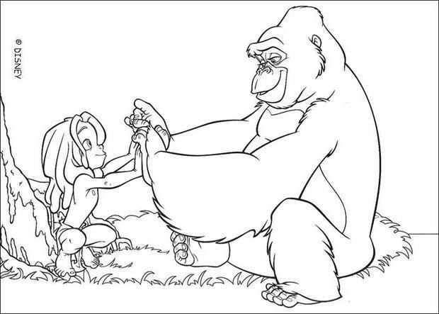 un joli coloriage de tarzan enfant et kala la maman gorille un dessin parfait qui - Coloriage Tarzan 3