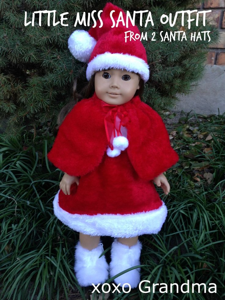 xoxo Grandma: Turning Dollar Store Purchases Into Doll Clothes - Little Miss Santa Outfit