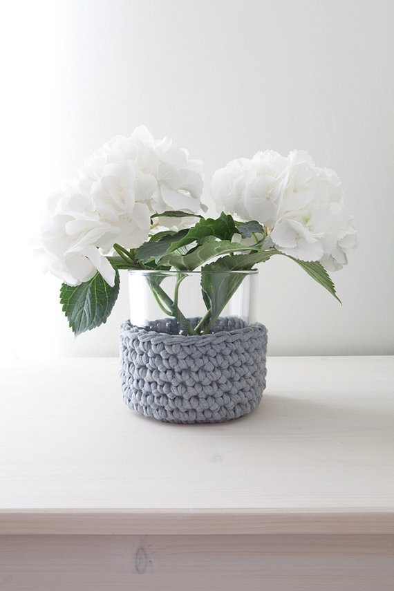 Glass vase/ candle holder with crocheted cover - Made by home sweet home design (etsy shop)
