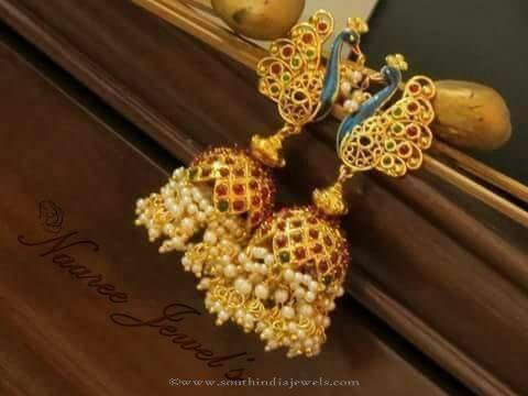 Gold Plated Ruby Pearl Jhumka by Sangita Creation