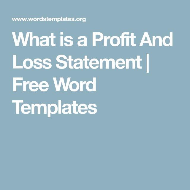 What is a Profit And Loss Statement | Free Word Templates