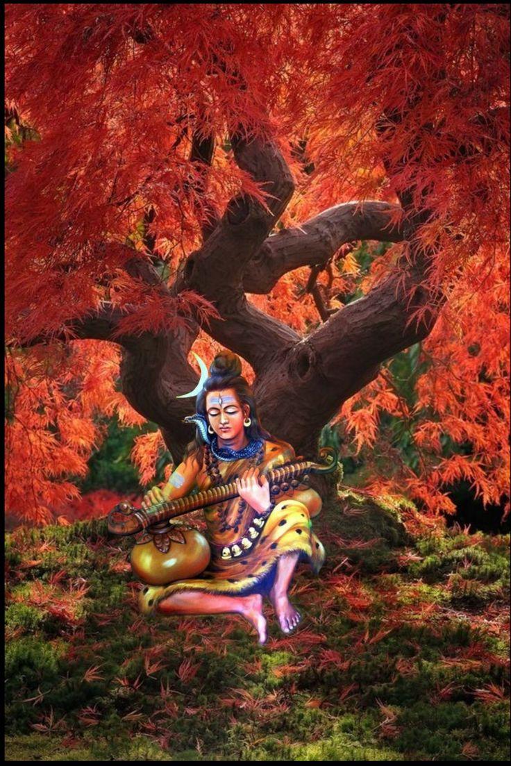 Lord Shiva playing Veena in creative art painting