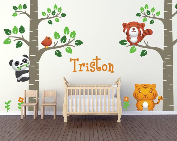 Birch Tree Forest Theme Nursery Wall Decals by LullaberryDecals