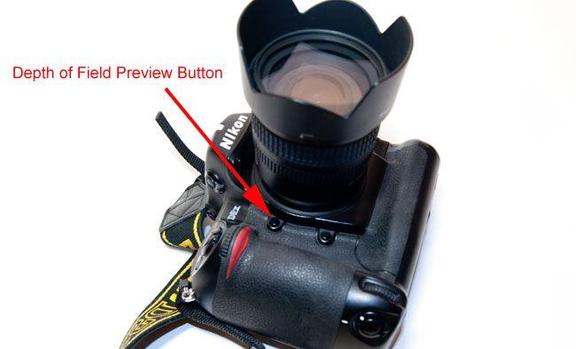 Depth of field preview button on Nikon D2X camera by Robert Berdan