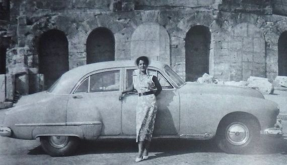 1951 ~ Actress and singer Rena Vlachopoulou posing in front of Herodion Theater in Athens