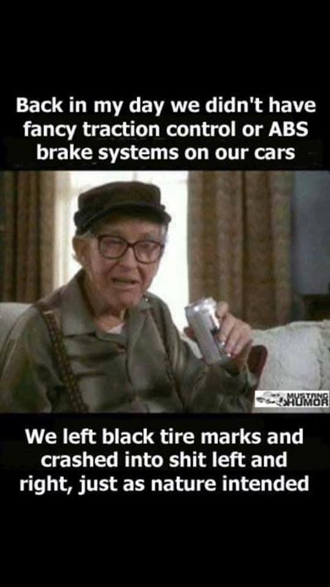 back in my day we didn't have fancy traction control or ABS brake system on our cars. We left black tire marks and crashed in to shit left and right, just as nature intended.