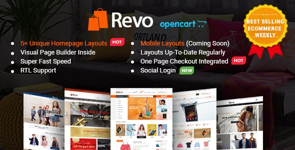 Revo is a modern and fully responsive multi-purpose OpenCart theme for any type of store. In combination with the super powerful administration panel packed with a bundle of options, you total...
