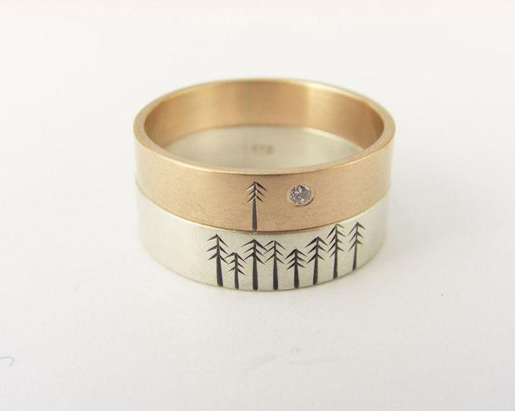 Diamond Engagement Ring Wedding Band Set in 9kt Rose by ashhilton, $695.00