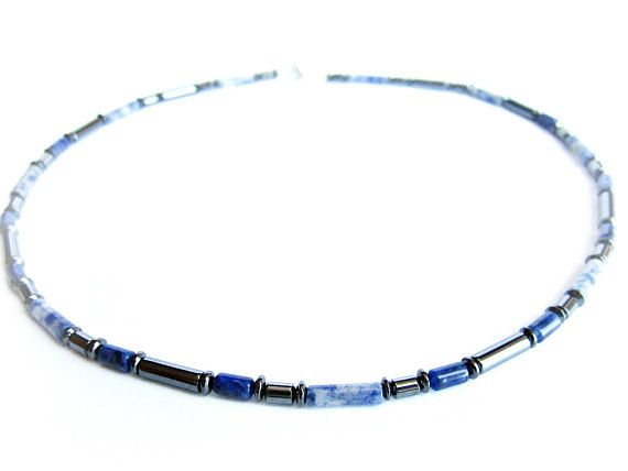 Beaded necklace sodalite and hematite stones mens gemstone necklace blue black bead necklace gift for him mens jewelry mens necklace