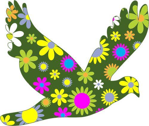 Retro floral vogel tekening