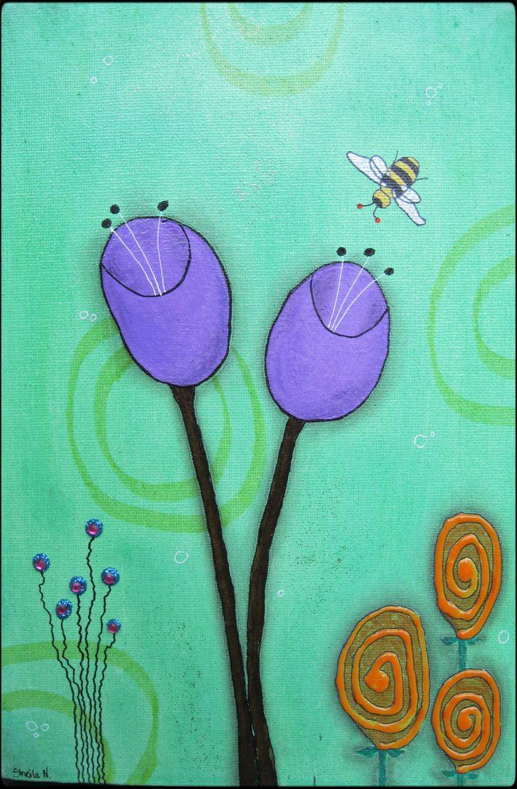 Purple flowers, green background. Mixed media on canvas. 20x30 cm. ©Sheila Nielsen
