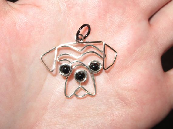 Wire Wrapped Dog Head MADE to ORDER pendant by 1ofAkinds on Etsy, $9.00