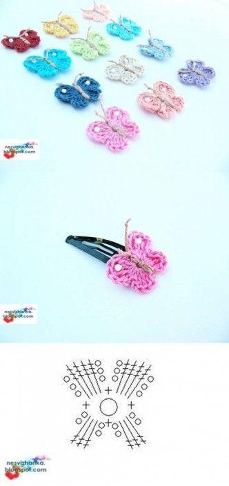DIY Crochet Butterfly Clip DIY Projects