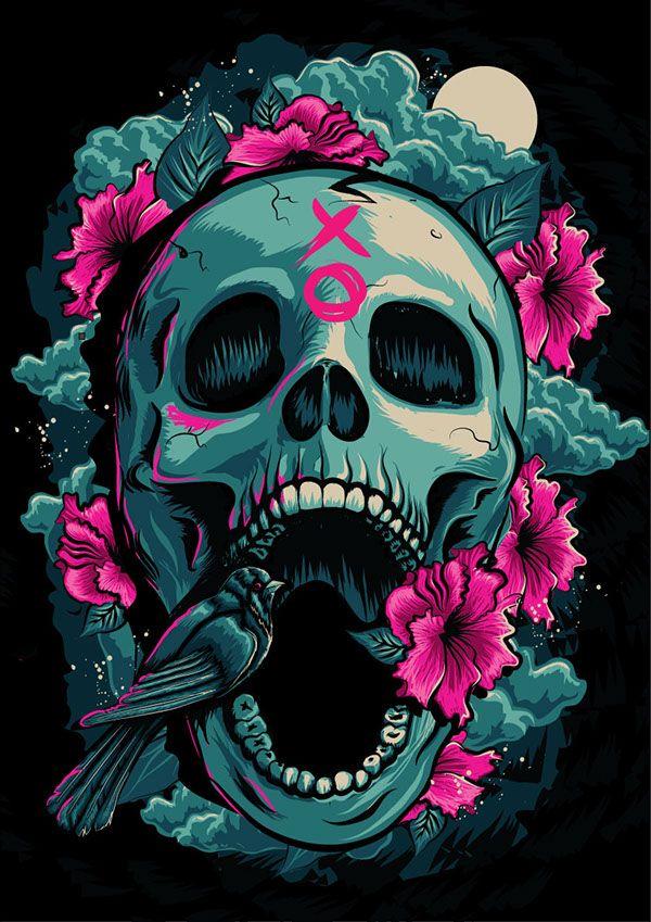 BirdSkull by Kim Wilson, via Behance Skull art, Skull