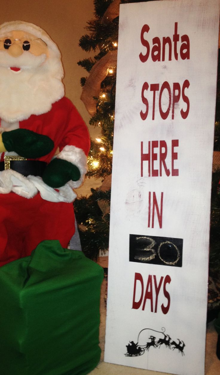 Santa Clause Stop Here Countdown Chalk Calendar Outside Decoration,  advent calander, Christmas Wood , by PersonalizedaMAZEing on Etsy