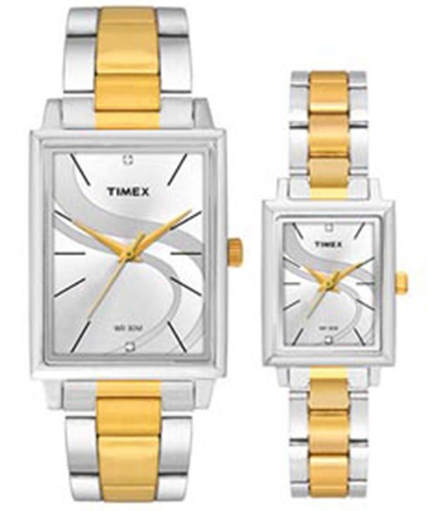 Timex Stylish Silver Dial Watch With Golden & Silver Metallic Strap For Men And Women