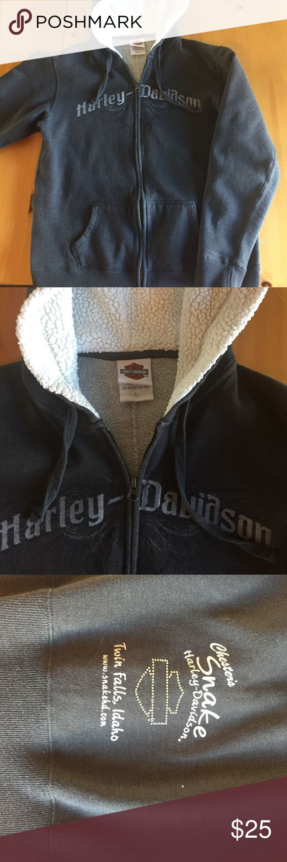 Black Harley Davidson sweatshirt Nice heavy black sweatshirt really good condition and comfy heavy sweatshirt material.    Firm on price. Quality throughout, has a worn look to sweatshirt material that is normal Harley-Davidson Jackets & Coats