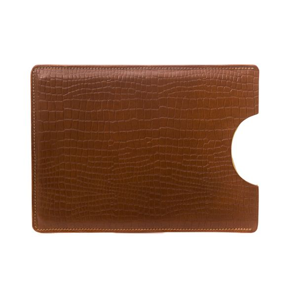 """An Apple iPad Air sleeve in a mock-croc bridle leather  Sophisticated and very practical, these sleeves are embossed with the McRostie Logo. Perfect for business meetings. You can add that personal touch by personalising with initials or a company logo.  This product will fit an iPad Air 2 or iPad Pro 9.7"""".  It is supplied with a McRostie branded natural cotton dustbag.  Height 26cm / 10.25"""" approx. Width 19cm / 7.5"""" approx."""