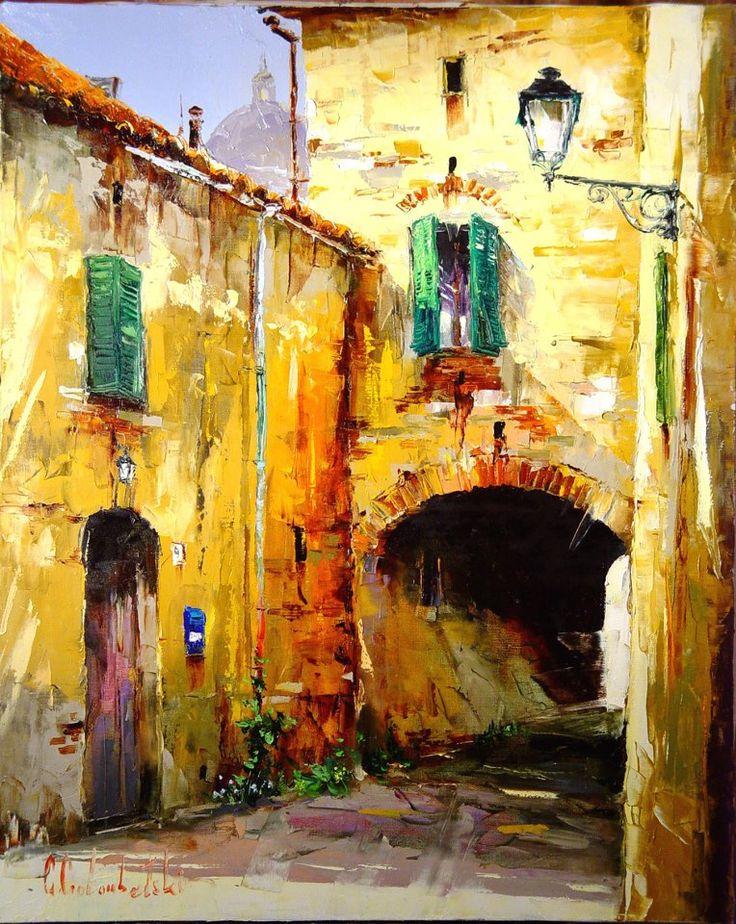Russian artist Gleb Goloubetski   Tuscany street 80x65 2010