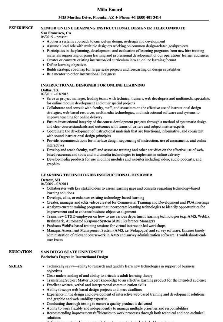 learning instructional designer resume samples  security
