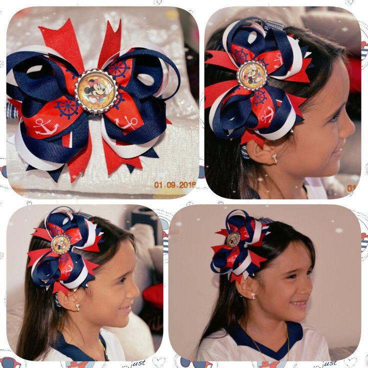 Diadema Navy Minnie: Azul-Rojo-Blanco
